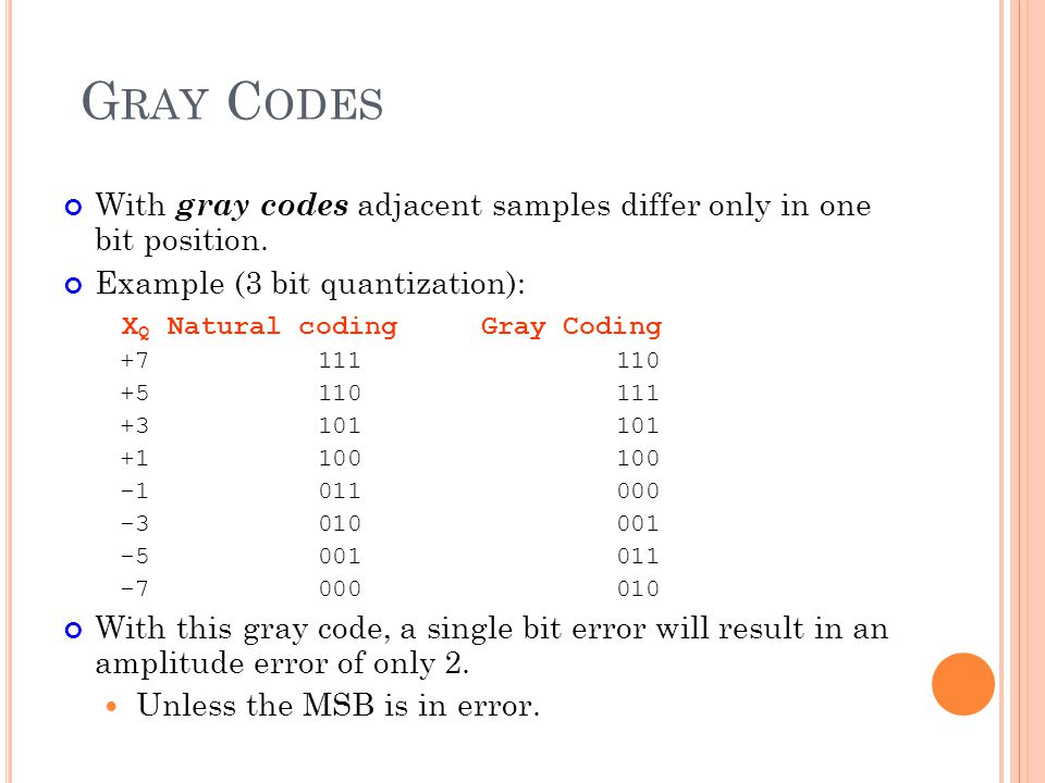 Gray Codes With gray codes adjacent samples differ only in one bit position. Example (3 bit quantization):