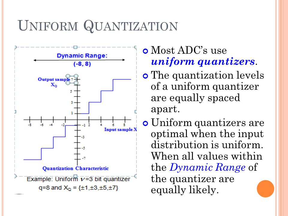 Uniform Quantization Most ADC's use uniform quantizers.