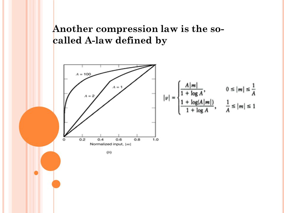 Another compression law is the so- called A-law defined by