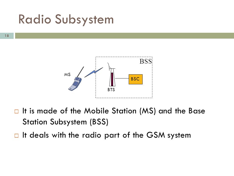 Radio Subsystem BSS. MS. BSC. BTS. It is made of the Mobile Station (MS) and the Base Station Subsystem (BSS)