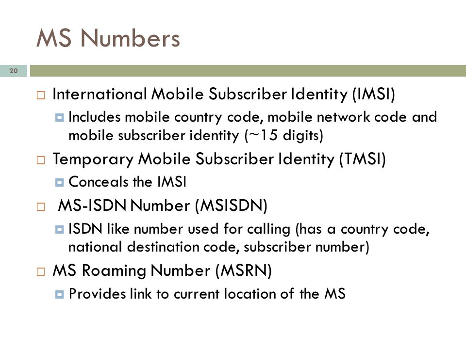 MS Numbers International Mobile Subscriber Identity (IMSI)