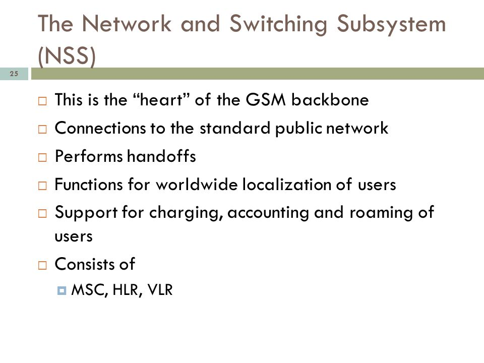 The Network and Switching Subsystem (NSS)