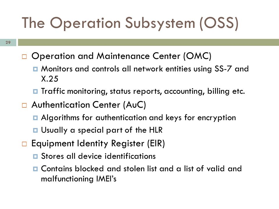 The Operation Subsystem (OSS)