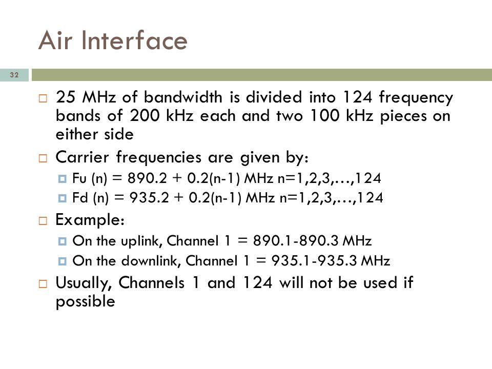 Air Interface 25 MHz of bandwidth is divided into 124 frequency bands of 200 kHz each and two 100 kHz pieces on either side.