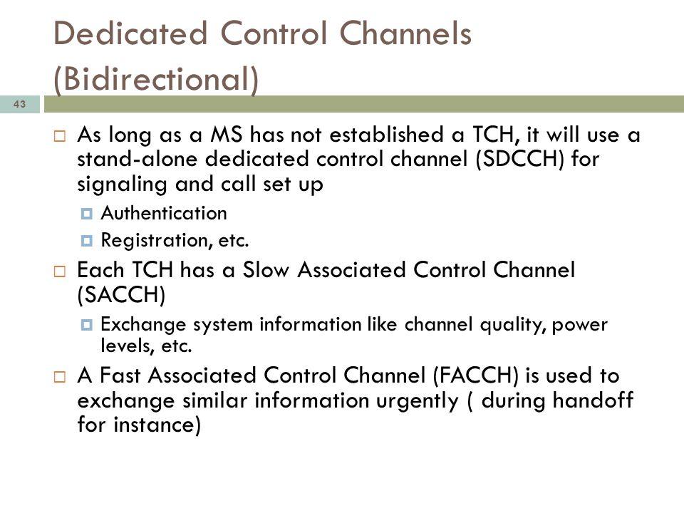 Dedicated Control Channels (Bidirectional)