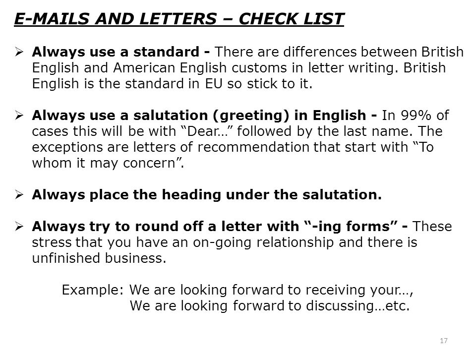 E-MAILS AND LETTERS – CHECK LIST