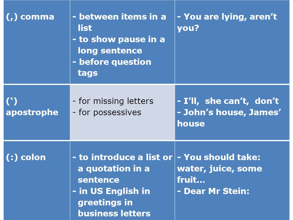 (,) comma - between items in a. list. - to show pause in a. long sentence. - before question. tags.