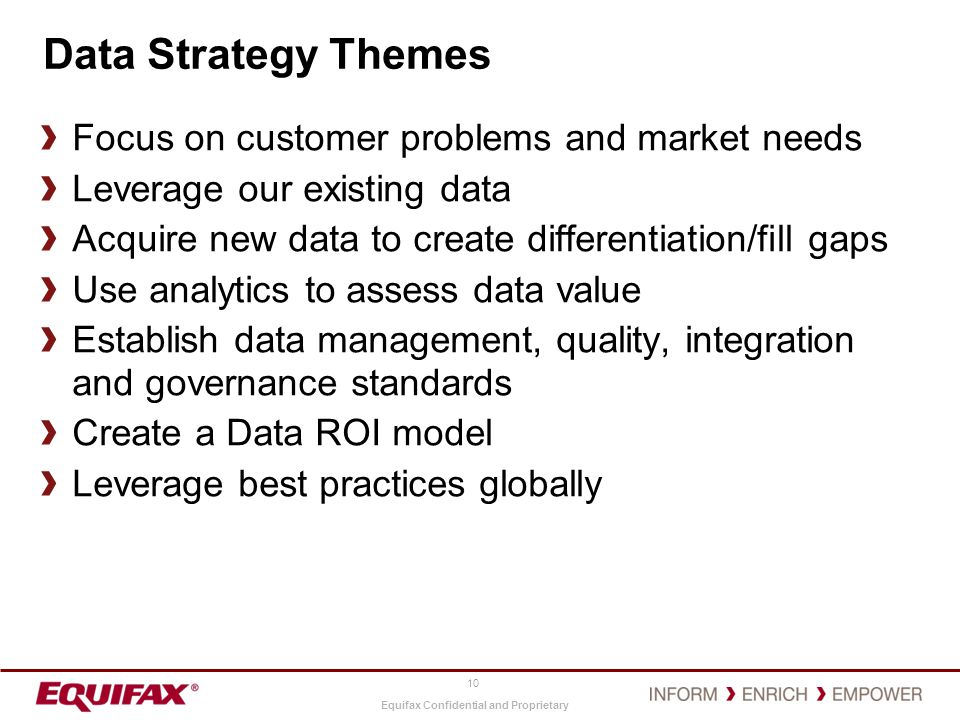 Data Strategy Themes Focus on customer problems and market needs