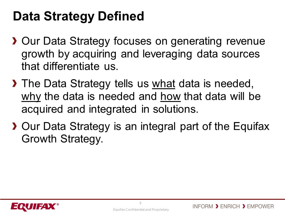 Data Strategy Defined Our Data Strategy focuses on generating revenue growth by acquiring and leveraging data sources that differentiate us.
