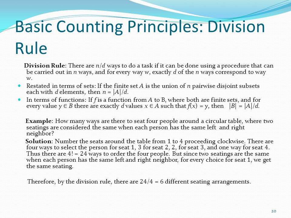 Basic Counting Principles: Division Rule
