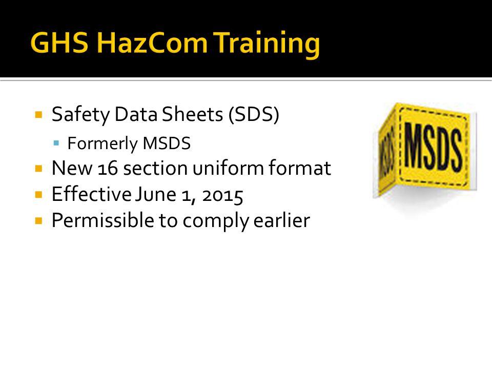 GHS HazCom Training Safety Data Sheets (SDS)
