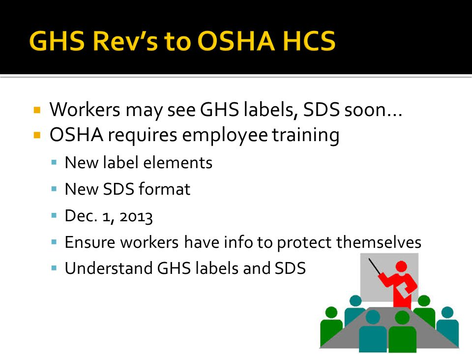 GHS Rev's to OSHA HCS Workers may see GHS labels, SDS soon…