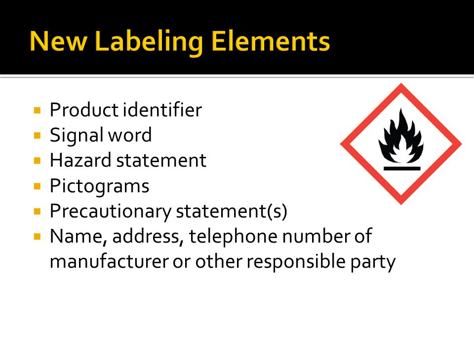 New Labeling Elements Product identifier Signal word Hazard statement