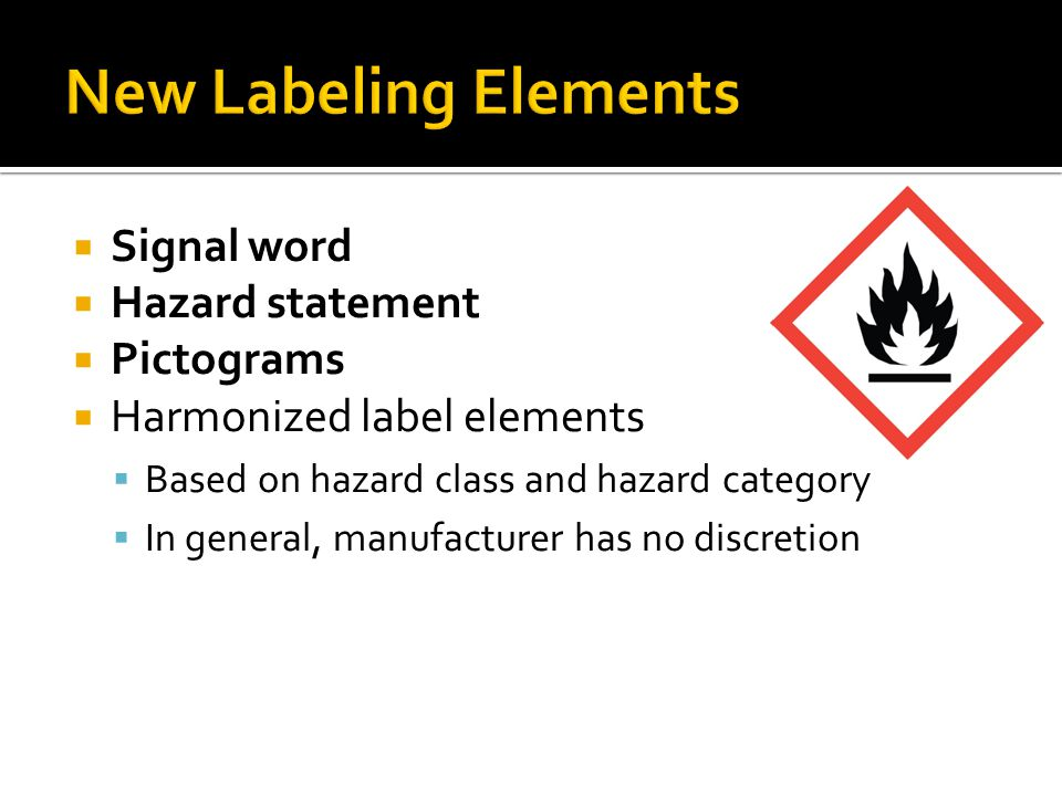 New Labeling Elements Signal word Hazard statement Pictograms