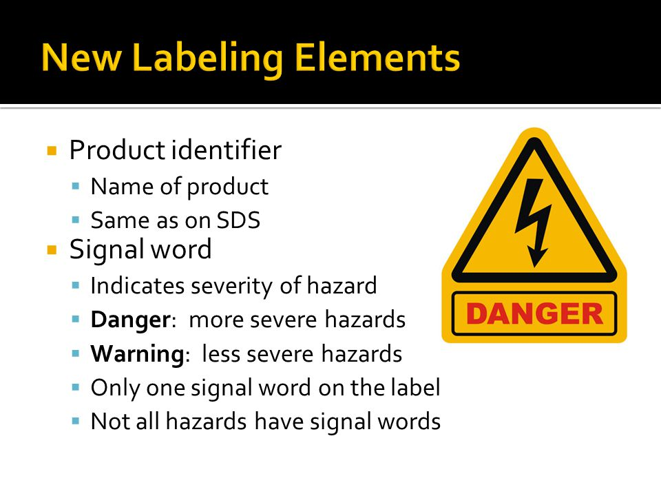 New Labeling Elements Product identifier Signal word Name of product