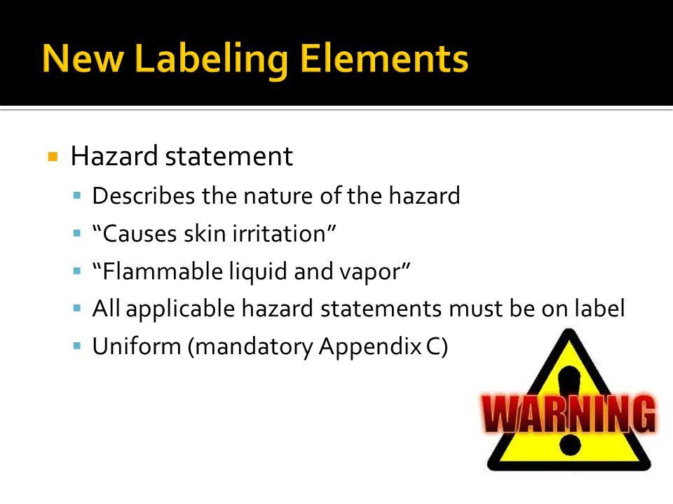 New Labeling Elements Hazard statement