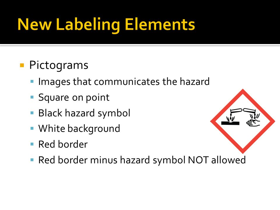 New Labeling Elements Pictograms Images that communicates the hazard