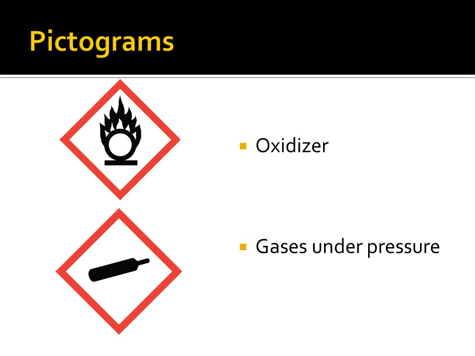 Pictograms Oxidizer Gases under pressure