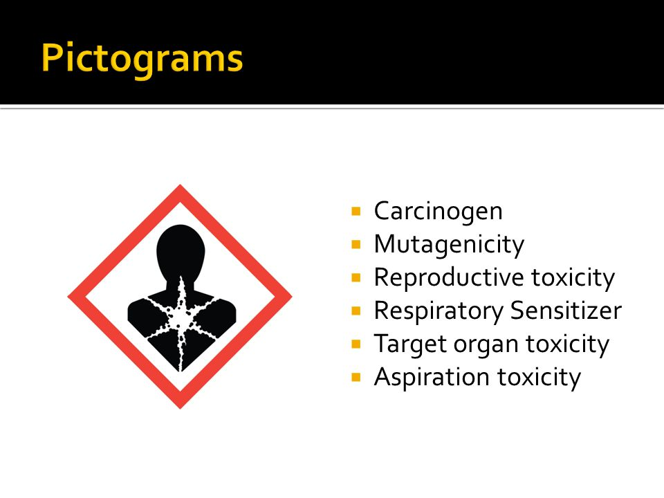 Pictograms Carcinogen Mutagenicity Reproductive toxicity
