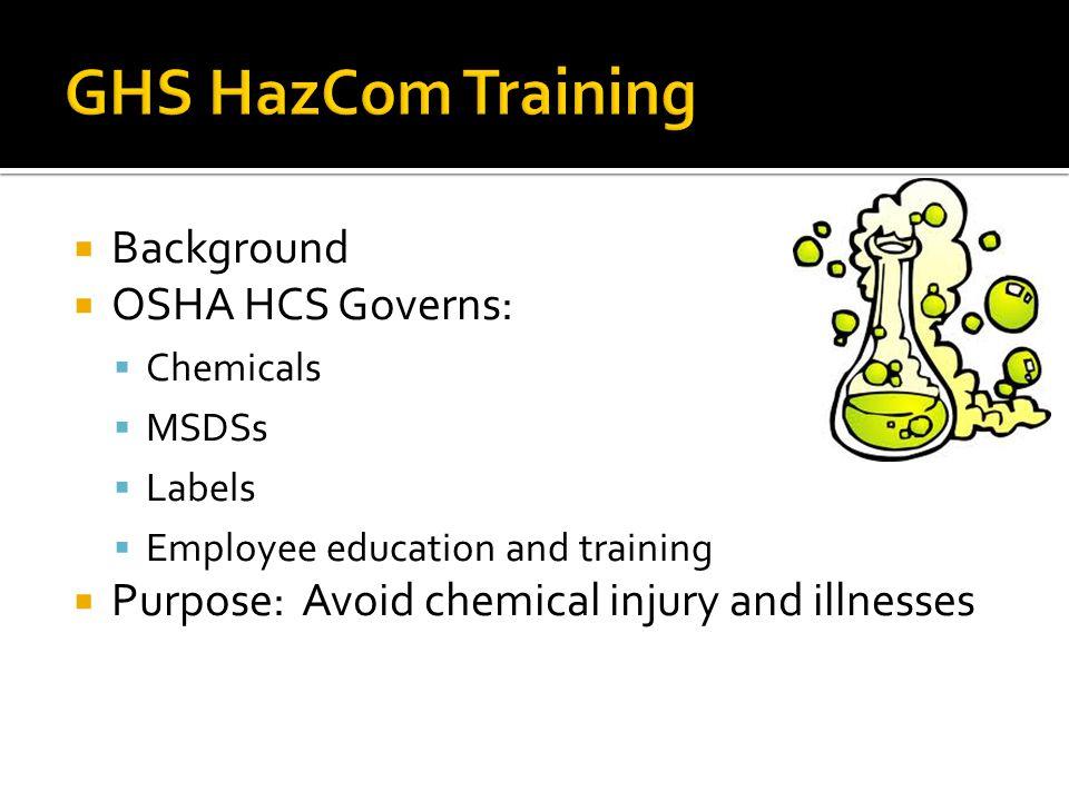 GHS HazCom Training Background OSHA HCS Governs: