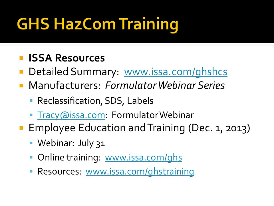 GHS HazCom Training ISSA Resources