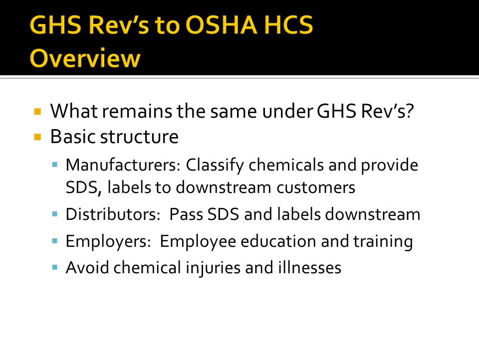 GHS Rev's to OSHA HCS Overview