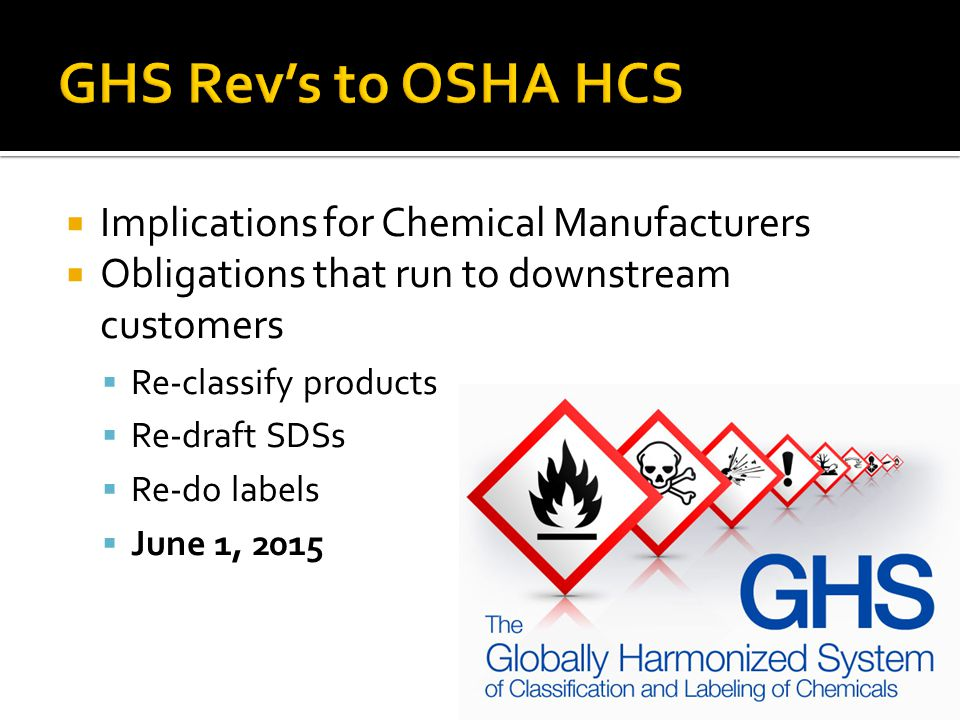 GHS Rev's to OSHA HCS Implications for Chemical Manufacturers