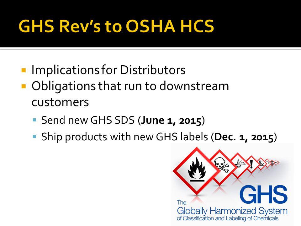 GHS Rev's to OSHA HCS Implications for Distributors