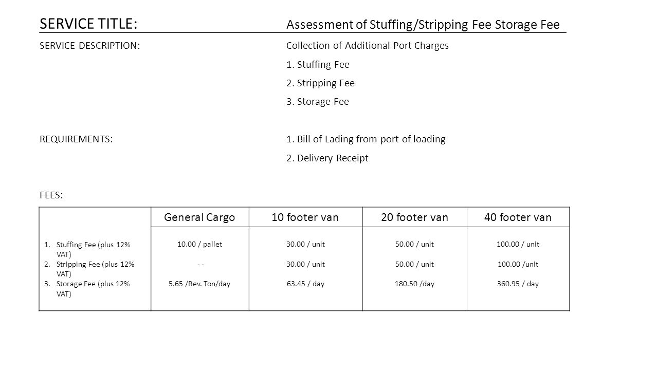 SERVICE TITLE: Assessment of Stuffing/Stripping Fee Storage Fee