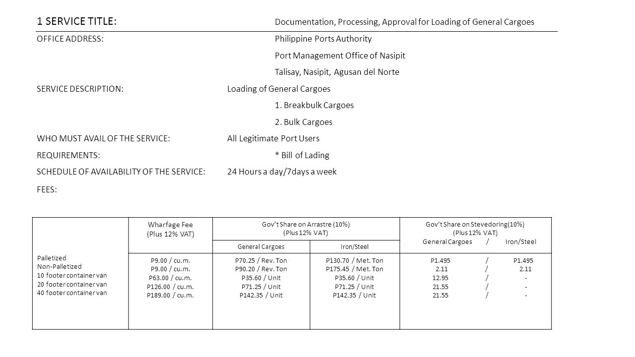 1 SERVICE TITLE: Documentation, Processing, Approval for Loading of General Cargoes