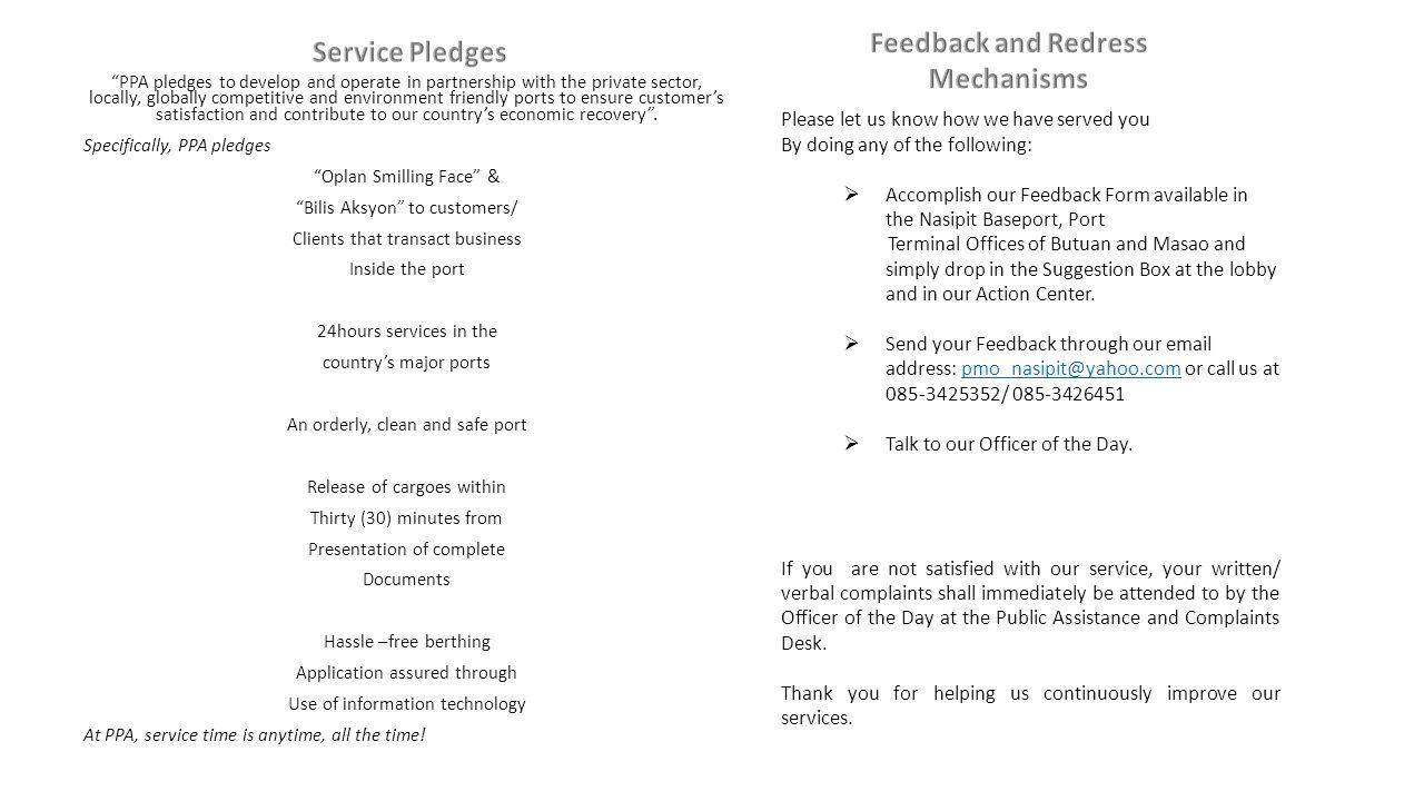 Feedback and Redress Mechanisms Service Pledges