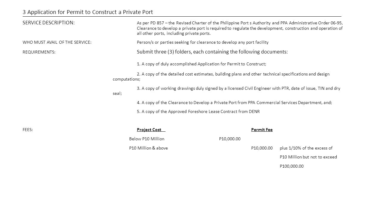 1. A copy of duly accomplished Application for Permit to Construct;