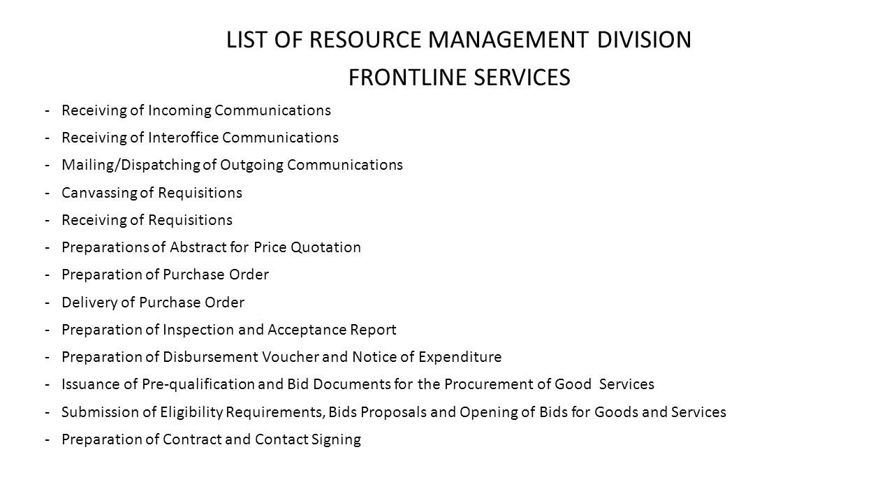 LIST OF RESOURCE MANAGEMENT DIVISION