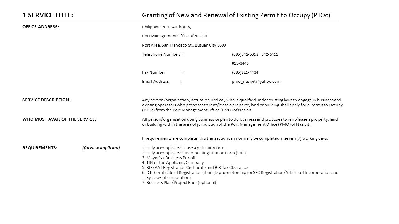 1 SERVICE TITLE: Granting of New and Renewal of Existing Permit to Occupy (PTOc)