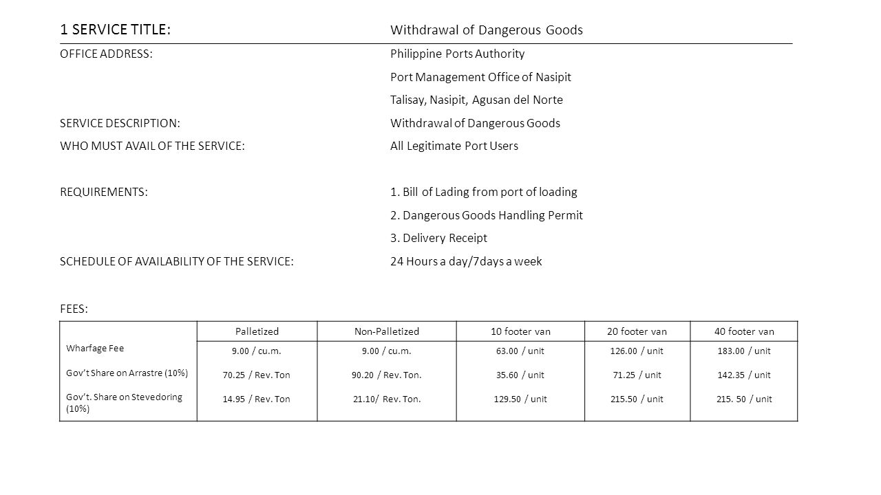 1 SERVICE TITLE: Withdrawal of Dangerous Goods