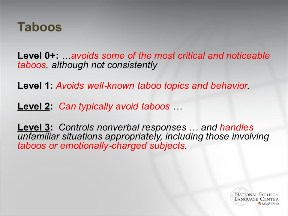 Taboos Level 0+: …avoids some of the most critical and noticeable taboos, although not consistently.