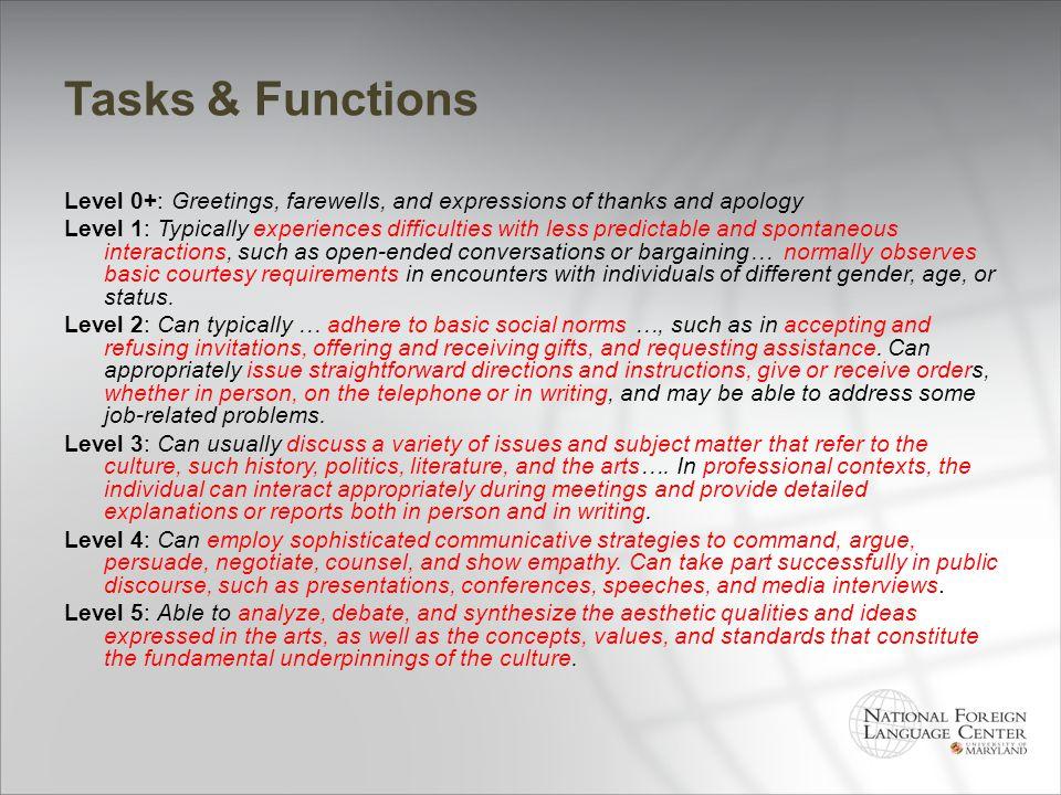 Tasks & Functions