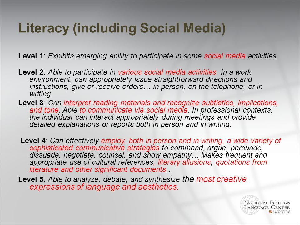 Literacy (including Social Media)