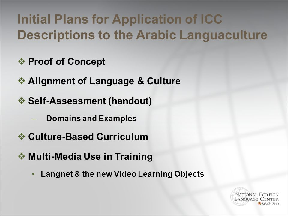 Initial Plans for Application of ICC Descriptions to the Arabic Languaculture