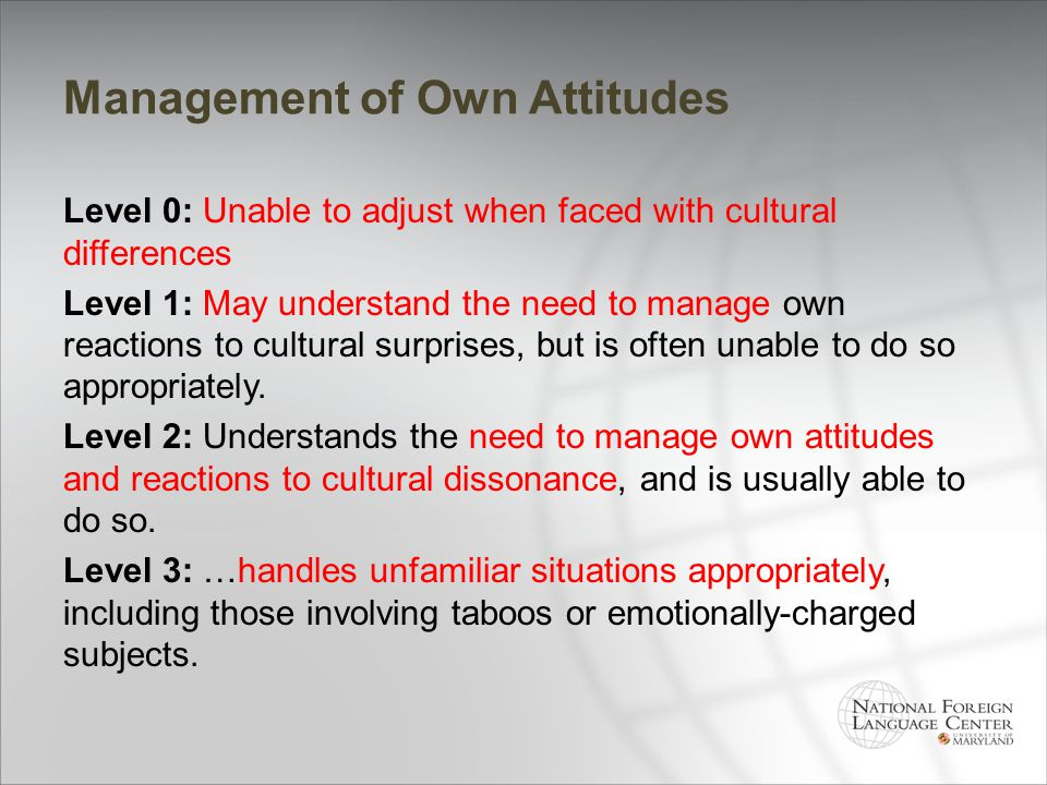 Management of Own Attitudes