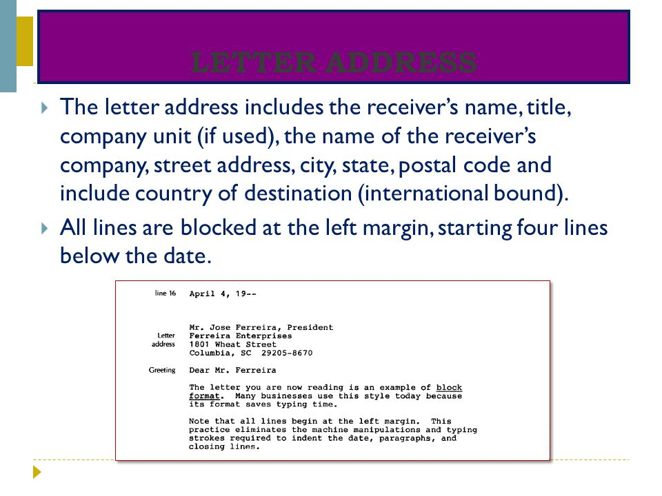 Letter address