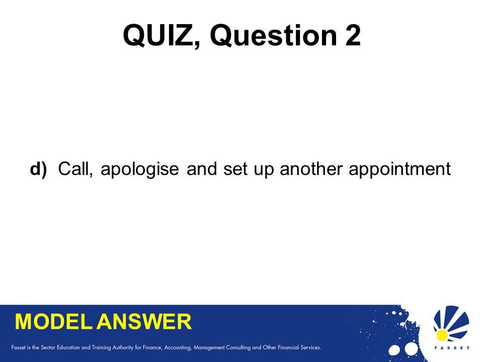 QUIZ, Question 2 MODEL ANSWER