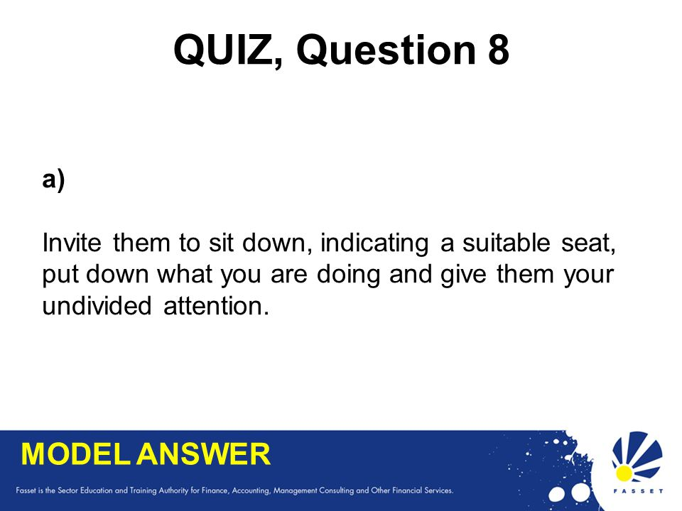 QUIZ, Question 8 MODEL ANSWER a)