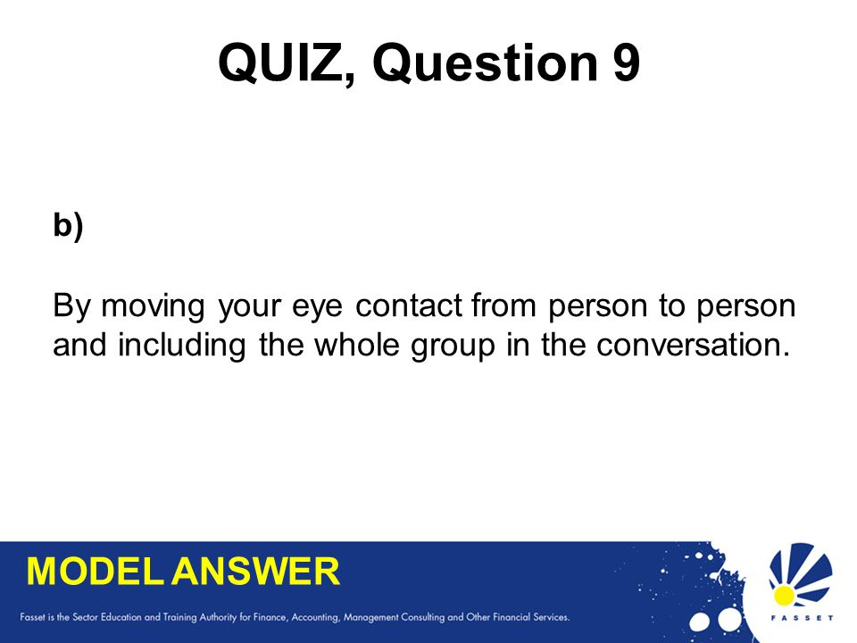 QUIZ, Question 9 MODEL ANSWER b)