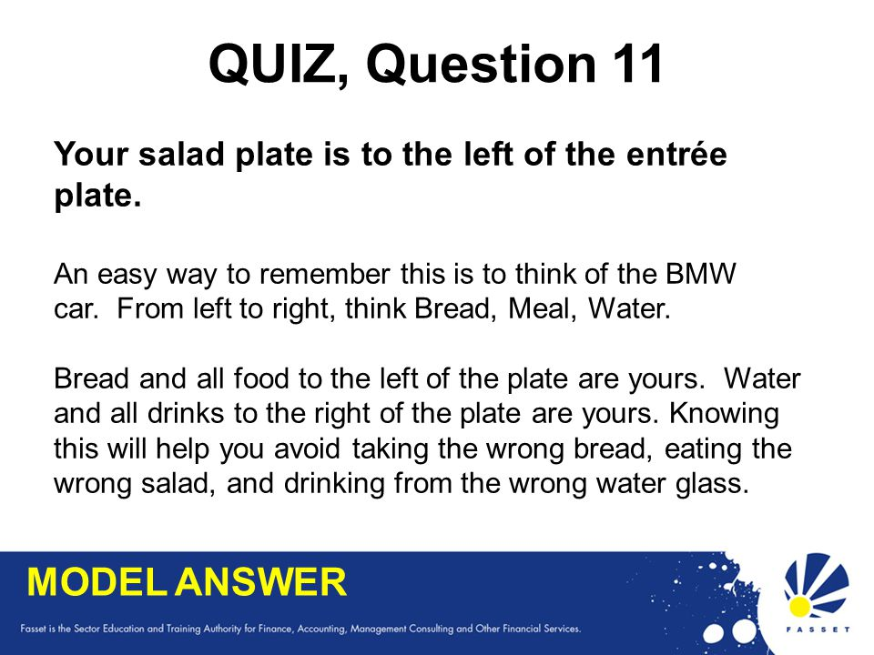 QUIZ, Question 11 MODEL ANSWER