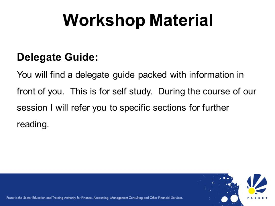 Workshop Material Delegate Guide: