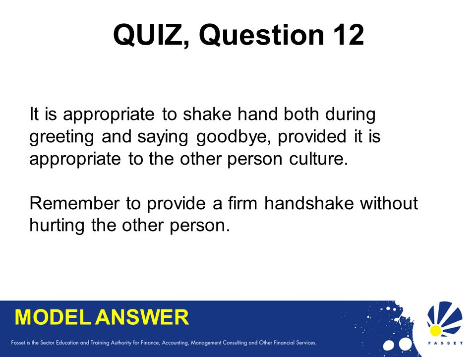 QUIZ, Question 12 MODEL ANSWER