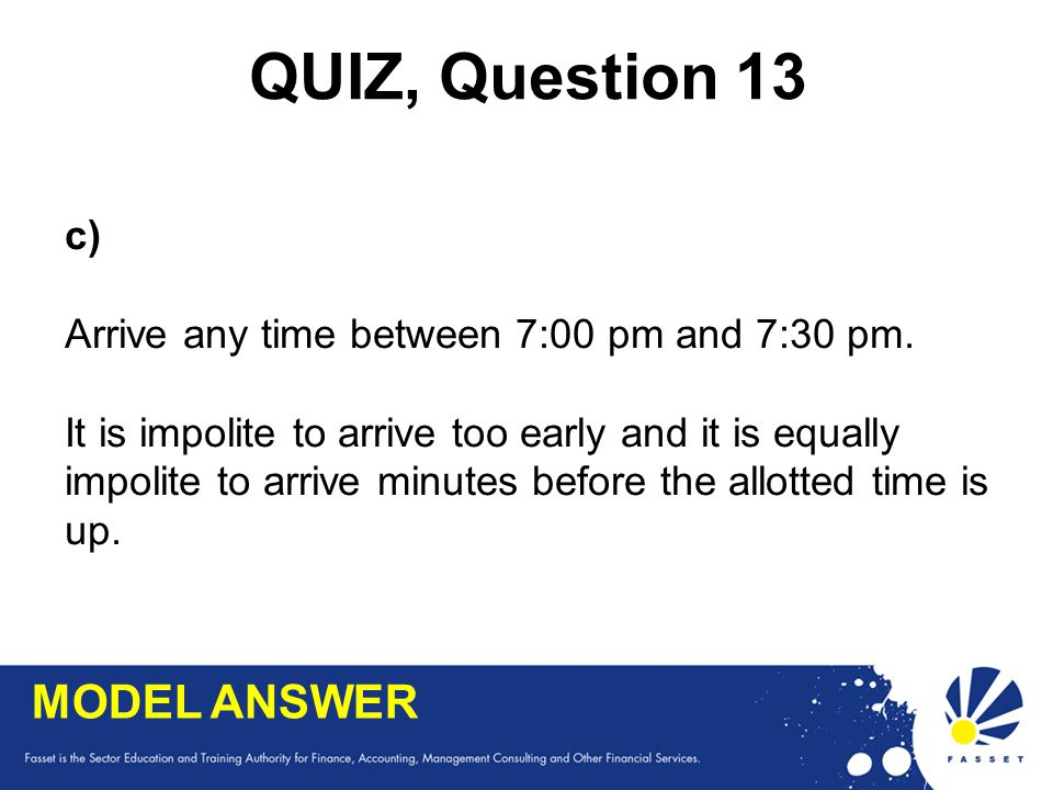 QUIZ, Question 13 MODEL ANSWER c)