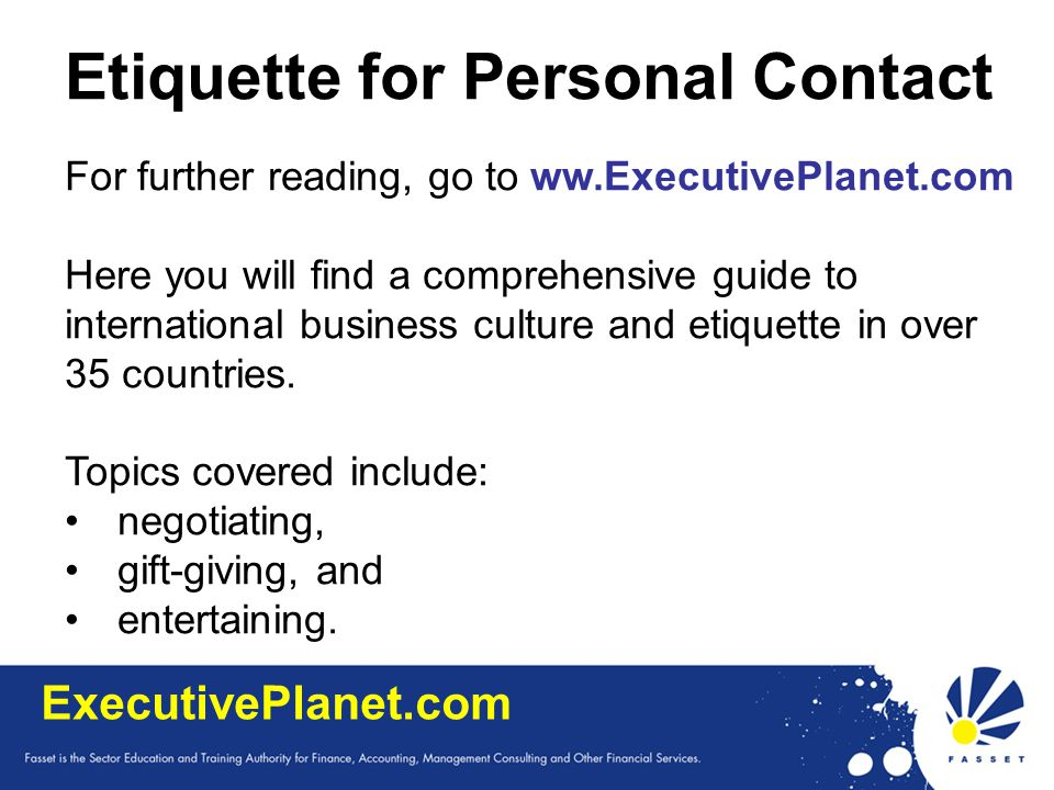 Etiquette for Personal Contact