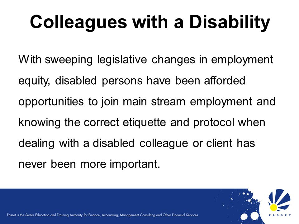 Colleagues with a Disability